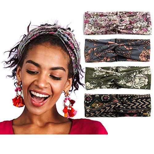 Alyphiin Haarband Damen 4 Stück Sommer Boho Stirnband Damen Sport Baumwolle Elastisches Dehnbares Haarbänder Mädchen Blumen Knoten Headband