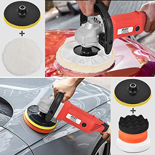 Goplus 7 Inch Electric Car Polisher 6 Variable Speed Buffer Waxer Sander Detail Boat w/Case (Complete Set)