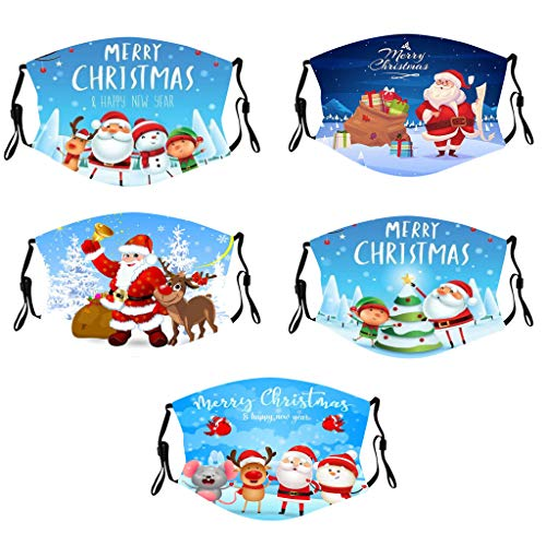 Merry Christmas!Face_Masks Washable UK with Christmas Tree Santa Claus 3D Print Pattern,Face Covering Face_Cover Bandana Christmas Decorations Gifts Christmas Fabric Cotton Protection