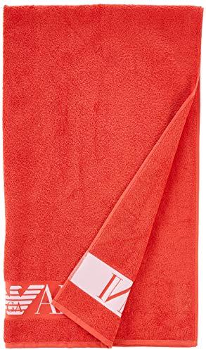 Emporio Armani Swimwear Herren Towel Beachwear Visibility Sponge Bademantel, Rot (Fiamma 00175), Medium (Herstellergröße: TU)