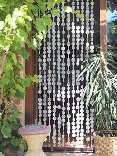 Guru-Shop Exotischer Muschelvorhang aus Capiz, Windspiel, Raumteiler, Türvorhang, Wanddeko - 80x200cm, Weiß, 200x80x2 cm, Dekovorhänge