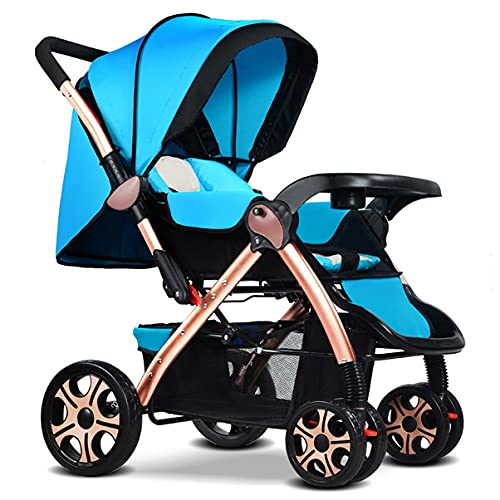Stroller, 2 In1 High Landscape Stroller, Compact And Lightweight Foldable Aluminum Alloy Pushchair Adjustable Handle Toddler Premium Pushchair (Color : Blue)
