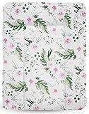 BABYMAM WEICHE WICKELAUFLAGE WICKELTISCHAUFLAGE 70x50 BETTEINLAGE WICKELKOMMODE (Blumen in Garten)