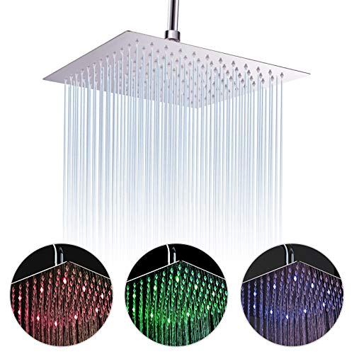 Fyeer 16 Inches LED Rainfall Shower Head Square, Ultra-thin Luxury Bathroom Shower Head Ceiling Mounted, 3-LAYER 304 Stainless Steel, Temperature Sensor 3 Colors Changing, Brushed Nickel