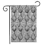 12.5 'x 18' Bandera de jardín Gris Blanco y Negro Abstracto Moderno Semitono Azulejos geométricos Banderas de Patio de casa Decorativas de Doble Cara al Aire Libre