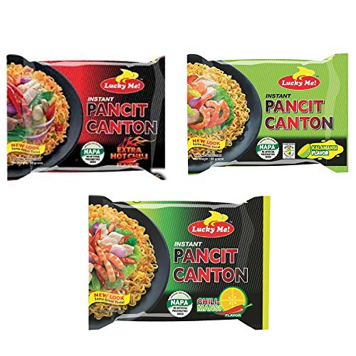 Pancit Canton Variety - 3 Flavor Assortment, 10 of each Citrus Kalamansi, Chilimansi and Hot Chili - (Pack of 30)