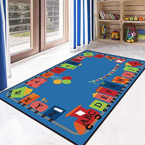 Kinderteppich Spielteppich Kinderzimmer Rug Babydecke Matte Moderne Babyteppich Alphabet Zug blau...
