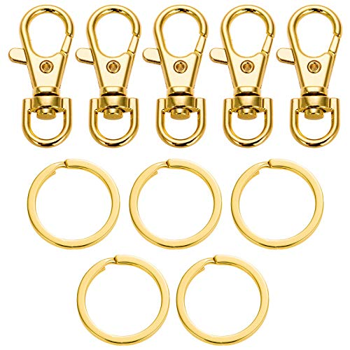 5 Set Key Chain Flat Key Rings Women Metal Swivel Clasps Snap-On Keychain Ring Hook Spring Clip Snap Hook Lobster Clasp for Keys, Lanyards Jewelry Findings, Round Edge, Gold