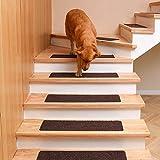 DanceWhale 15er Set Stufenmatten (76.2 x 20.3 cm) Treppenmatten Treppen rutschfest Selbstklebende Treppenteppich, Sicherheit Stufenteppich für Kinder, Älteste und Haustiere, Kaffee - 6