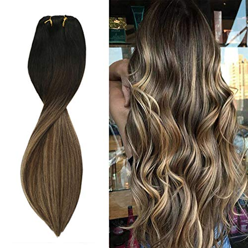 Sunny Extension de Cheveux Humain a Clip Balayage #1b Noir Naturel Ombre #4 Marron avec #27 Blonde Clips Cheveux Extension Naturel Humain 100% Remi 24 pouces 7pcs/120g