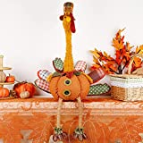 """winemana Thanksgiving Decoration Plush Turkey with Stretchable Head, 31.5"""" x 18.5"""" Handmade Stuffed Sitting Turkeys Fall Decorations for Indoor Home Tabletop Party Autumn Decor (Cock)"""