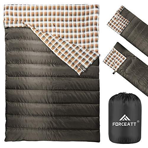 Forceatt Doppelschlafsack   Camping Schlafsäcken, wasserabweisender Campingschlafsack für 2 Personen, leicht und tragbar für Erwachsene Teenager Kinder Rucksackwandern Wandern im Freien und drinnen