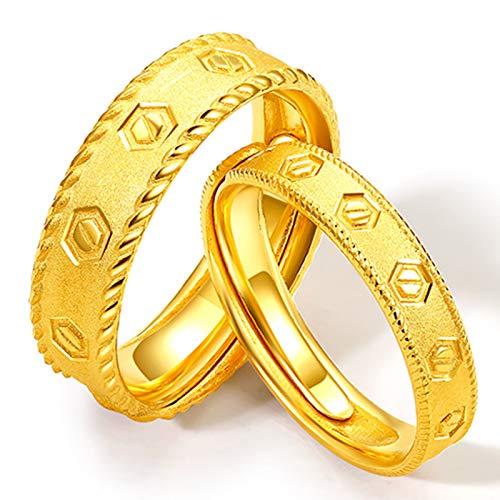 CNMJI Anillo Oro Puro Sólido 999 Mujer y Hombre Anillos Oro Compromiso Pareja Anillos Pareja Boda Anillos Compromiso Pareja San Valentín Regalo
