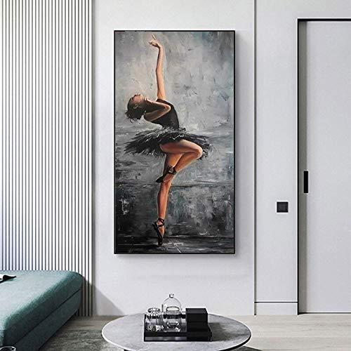 wZUN Bailarina Abstracta Retrato de Mujer Lienzo Pintura Cartel e Impresiones Sala de Estar decoración del hogar 60x120 Sin Marco