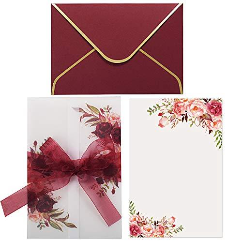 20 Pezzi Biglietti per inviti di nozze in pergamena bordeaux con fogli interni floreali stampati e buste con bordo dorato per invito di fidanzamento con doccia nuziale