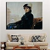 KWzEQ Chica desconocida Lienzo decoración del hogar Sala de Estar Mural decoración del hogar Regalo,Pintura sin Marco,75x112cm