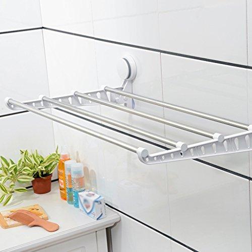 DY Handdoekwarmer strong sucker roestvrij staal vouwen badkamer handdoekhouder handdoek opslag rek badkamer handdoekstang hangend