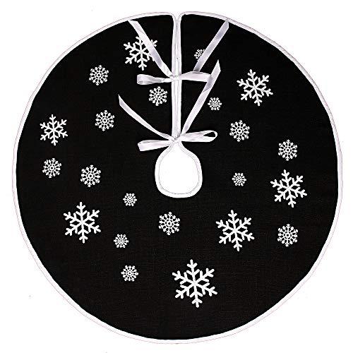 N&T NIETING Schwarz Weihnachtsbaum Rock Weiße Schneeflocke Gedruckt Sackleinen Weihnachtsbaumteppich Ornamente Dekoration für Weihnachten (30 Inches)