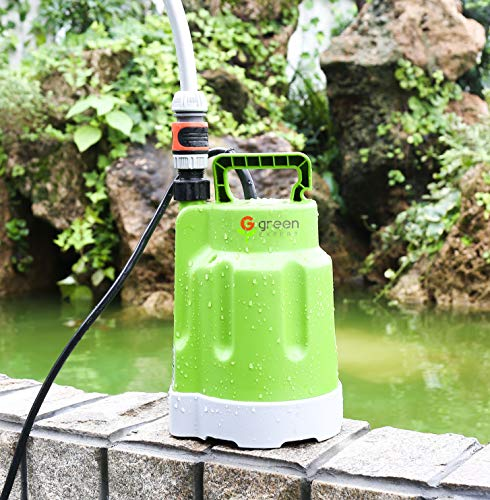 Green Expert 203618 1/4HP Submersible Utility Pump Max 1585GPH High Flow for Water Removal Household DIY Drain Pump for Easy Dewatering Suit to Standard Garden Hose 25ft Long Cord