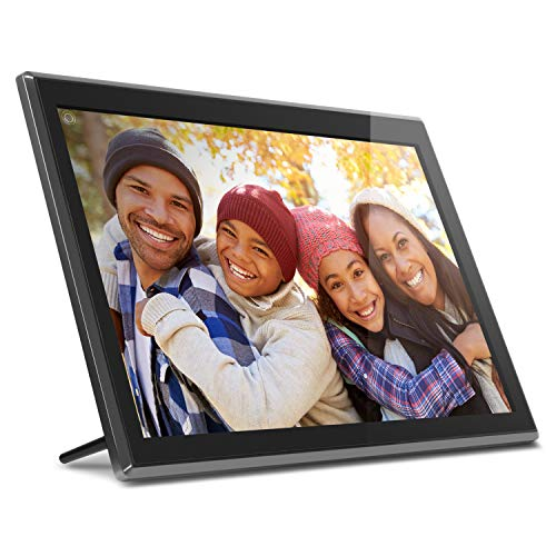 "Aluratek 17.3"" WiFi Digital Photo Frame with Touchscreen IPS LCD Display & 16GB Built-in Memory, Photo/Music/Video (AWS17F), Black"