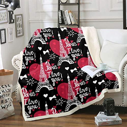 Loussiesd - Manta de forro polar con diseño de Torre Eiffel de París, para cama, sofá, sala de estar, romántica París, manta de felpa para el día de San Valentín, manta difusa de 152 x 200 cm