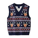 Navidad Jerseys para Niños Suéter Invierno Pullover Prendas de Punto Sudadera Sin Mangas Chaleco Tenues de Invierno para Niños Niñas 3-4 Años