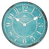 Ol322ay Reloj de pared redondo blanco turquesa