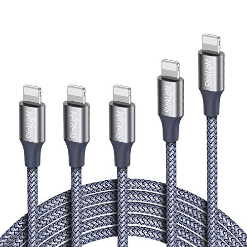 StinkLight iPhone Charger, MFi Certified Lightning Cable 5Pack (3/3/3/6/10FT) Braided Nylon Fast Charger Cable Compatible iPhone 11/Pro/Xs Max/X/8/7/Plus/6S/6/SE/5S/Air iPad/Mini/iPod (Gray)