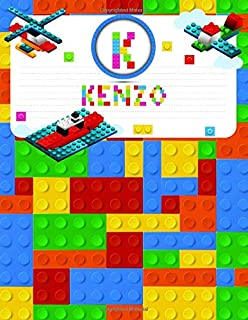 Kenzo: Primary Composition Notebook Story Paper Journal Gifts with Personalized Initial Name & Monogram for Kids (Boys) Dashed  Midline / Dotted and ... Exercise Book (Block / Brick Games Design)