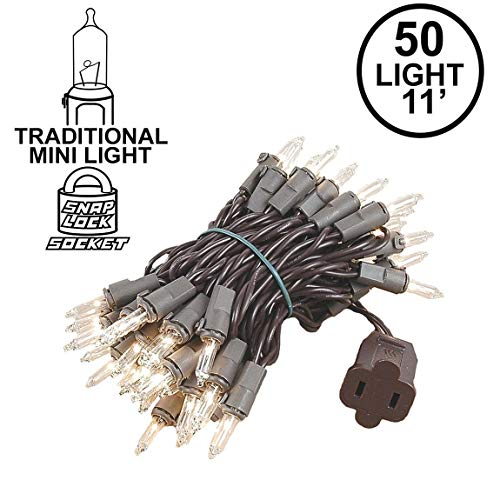 Novelty Lights 50 Light Clear Christmas Mini String Light Set, Brown Wire, Indoor/Outdoor UL Listed, 11' Long