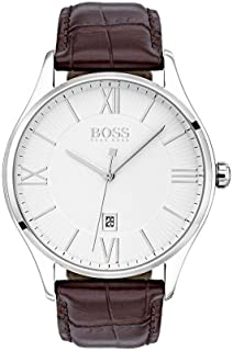 Hugo Boss Governor Men's White Dial Leather Band Watch - 1513555