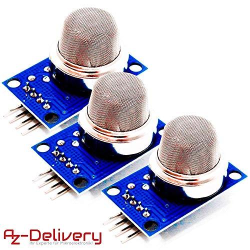 AZDelivery 3 x MQ-135 Gas Sensor Luftqualität Modul kompatibel mit Arduino inklusive E-Book!