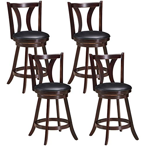 COSTWAY Bar Stools Set of 4, 360-Degree Swivel Stools with Leather Padded Seat, Single Slat Back & Solid Rubber Wood Legs, Counter Height Stools for Pub, Restaurant, Kitchen, Brown (4)