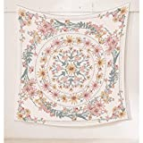 Simpkeely Mandala Floral Medallion Tapestry, Sketched Flower Plant Boho Wall Hanging, Bohemian Hippie Tapestries for Bedroom Living Room Dorm Home Décor 59.1 x 59.1 Inches (RosyBrown)