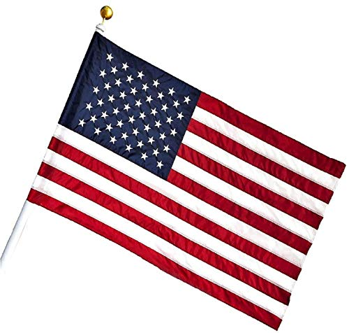 G128  American USA US Flag 25x4 Ft Pole Sleeve Banner Style Embroidered Stars Sewn Stripes Pole Sleeve Flag Pole is NOT Included