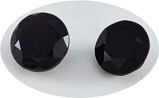 Joyas Plata 1PC Natural Black Onyx Faceted 13x13 mm Round Shape lovely Quality Gem JP- STBONFCRO-13x13-Au