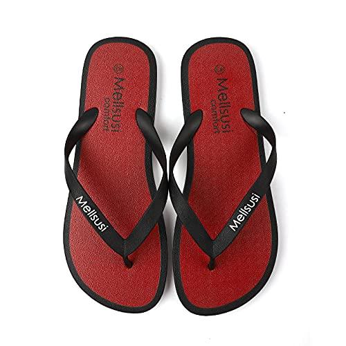 xinghui Chanclas para Mujer Zapatillas de Playa en Forma de hanzi Zapatillas de Ropa de Moda-Rojo_43