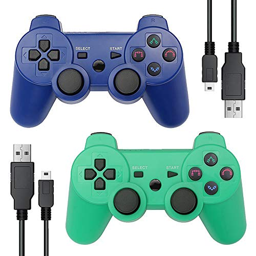 Autker PS3 Controller Wireless 2 Pack Playstation 3 Controller Double Vibration for PS3 with 2 Charging Cable (Blue+Green)