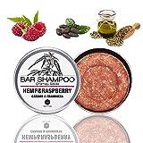 Champú Sólido Cáñamo y Frambuesa, 55 gr   Hemp & Raspberry Bar Shampoo - Ingredientes Naturales, Ideal Para Pelo Normal, Moderadamente Graso, de Alta Porosidad - sin Sulfatos ni Parabenos ni Siliconas