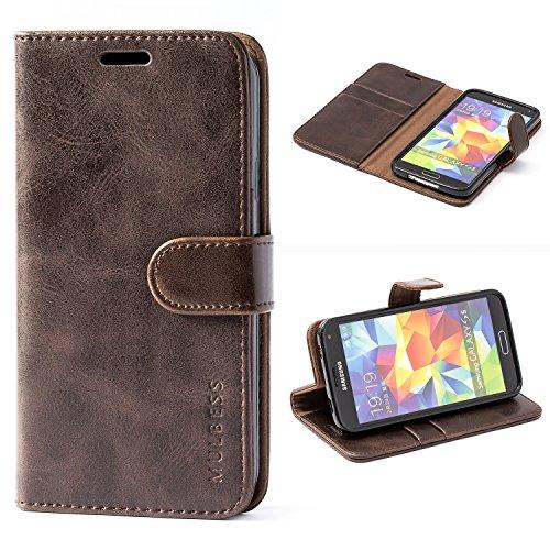 Mulbess Handyhülle für Samsung Galaxy S5 Hülle, Leder Flip Hülle Schutzhülle für Samsung Galaxy S5 Neo Tasche, Vintage Braun
