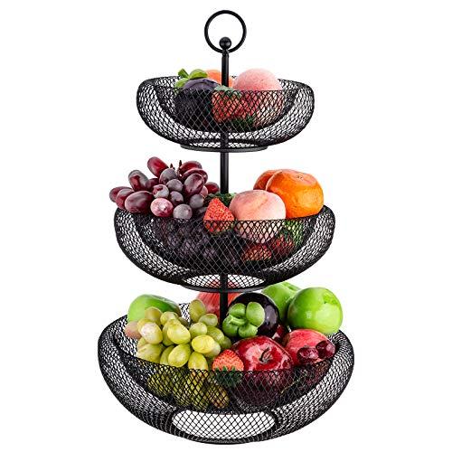 Hengu Frutero de Cocina, 3 Pisos Cesta de Frutas de Metal, para Pan Verduras Frutas Aperitivos, Negro