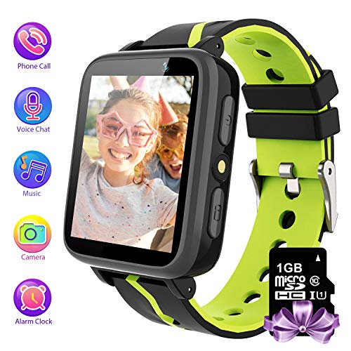 Kids Smartwatch Phone with 1GB Memory Card MP3 Music Player Kids Phone Watches and FM Radio HD Touch Screen 2 Way Phone Calls SOS Voice Pedometer Watch for Kids (Black)