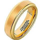 Bishilin Wolframcarbid Ringe Männer Gebürstet Kuppel Breite 6MM Hochzeitsring Trauringe Gold Männer Große 54 (17.2)