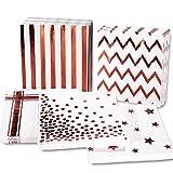 Whaline 100Pcs Roségold Papierservietten 6,5 x 6,5 Zoll Einweg-Papierservietten zum Geburtstag Baby Duschen Weihnachten Hochzeit (5 Stiles der Servietten)