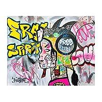グラフィティ抽象少女アートキャンバス絵画モダンポスタープリント カラフルなストリートウォールアート画像リビングルームの家の装飾20x30cmx-19