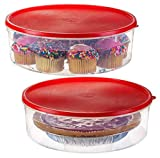 2 Pack - Zilpoo Plastic Round Food Storage Containers with Lid, 10.5' Covered Pie Keeper, Christmas Cookie, Cupcake Carrier, Cheesecake Holder