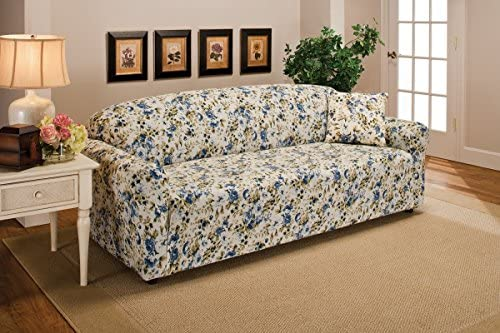 Best Madison Stretch Jersey Sofa Slipcover, Floral, Blue