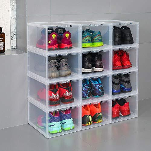 8 cajas para zapatos de hombre, apilables, magnéticas, de plástico, color blanco, 37 x 27,7 x 21,5 cm, para zapatillas deportivas, tacones altos, zapatos de alta calidad