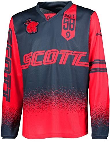 Scott 350 Race Kids Kinder MX Motocross Jersey/DH Fahrrad Trikot rot/blau 2019: Größe: M (140)