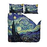 EZEZWSNBB Set Biancheria da Letto di 3D Stampa Van Gogh Cielo Stellato Bedding 3 Pezzi in Microfibra Chiusura a Cerniera Copripiumino x 1 (140x200 cm) Federa x2(50x75 cm) Adatto a Bambini Adulti